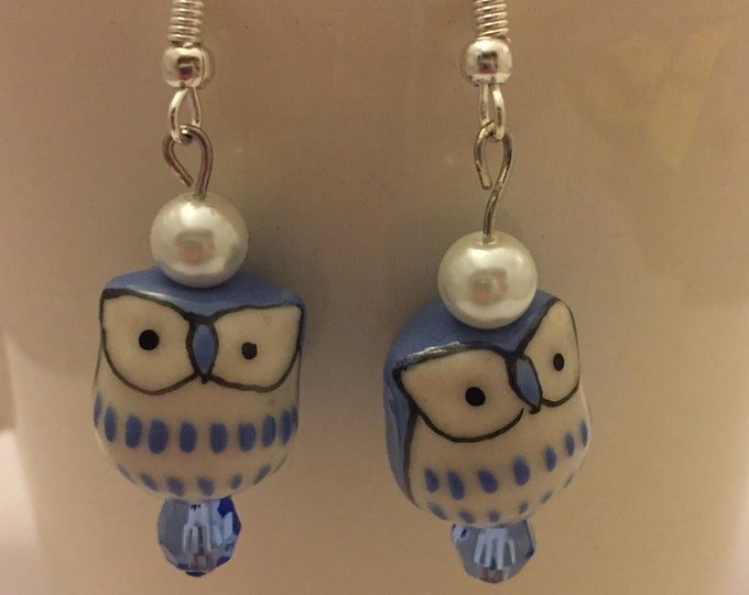 Owl Earrings, Dangle Owl Earrings, Drop Owl Earrings, Blue Owl Earrings, Pink Owl Earrings, Beaded Earrings w Backings, Silver Earring Wire