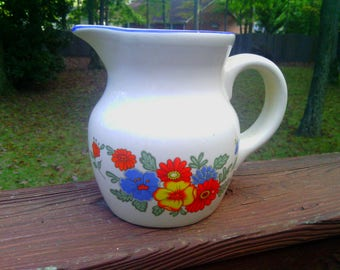 Vintage White Ceramic Pottery Milk or Water Pitcher with Bright Flower Motif
