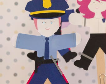 First Responders Party Paper Doll kids Craft Kit, Police Gift, diy Craft Kit, kids crafts, paper craft, craft kit set of 30 Fire Fighter