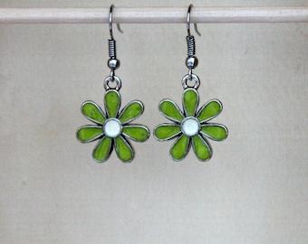 Lime Green Flower Earrings, Lime Green Earrings, Green Earrings, Short Lime Green Earrings