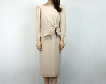 Vintage Beige Dress 70s Sheer Long Sleeve Fall Dress Miss Elliette 1970s Bow Party Dress - Medium to Large M L
