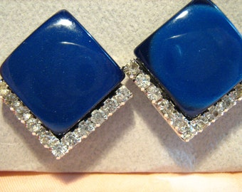 Superb Vintage Coro Blue Moonglow and Rhinestone Clip Earrings