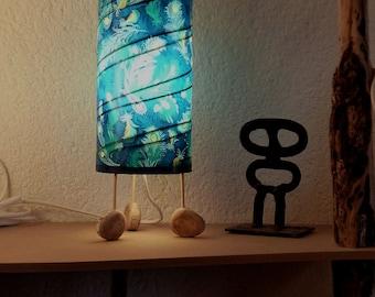 light paper - lamp is blue - paper lamp - pipe lamp
