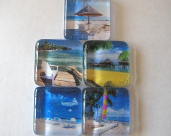 Tropical Fun Square Glass Magnets Set of 5