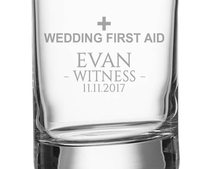 Engraved WITNESS shot glass, personalised glasse, wedding bomboniere wedding favours, wedding first aid - SH-WFA4