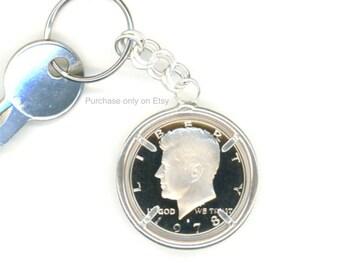 40th Birthday 1978 Half Dollar Keychain 40th Anniversary Gift Sterling Silver Chain 1978 Kennedy Half Dollar Keychain
