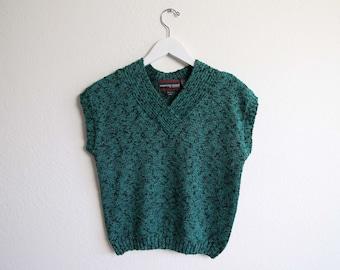VINTAGE Pullover der 1980er Jahre stricken oben grün schwarz Damen Small kurzärmlig