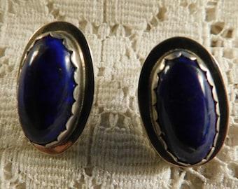 Lapis Lazuli Earrings, Silver Earrings, Southwest Earrings