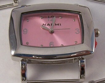 CLEARANCE Landscape.. Small Pink Rectangle Interchangeable Ribbon Watch Face, Solid Bar, Silver Plated