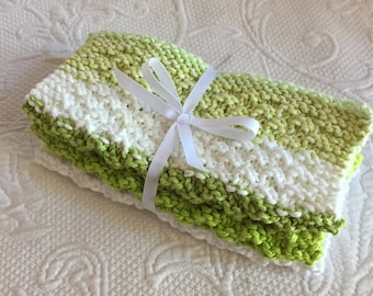 Set of 3 Handmade Knitted 100% Cotton Wash Cloths / Dish Cloths/Spring Green, White