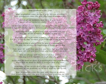 Graduation Poem Print for those that have lost their Grandma 8x10 Graduating without Grandmother This Year Lilac Purple Color