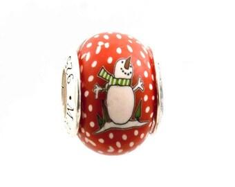 Snowman Christmas Holiday Jewelry Bead for Add-A-Bead Charm Bracelets