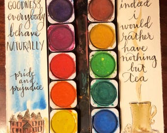 Jane Austen quotes afternoon tea watercolor bookmarks literary bookmarks handpainted hand-lettered Longbourne