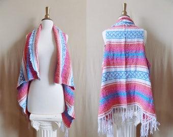 Pink Vest- Boho Fringe- Bohemian Clothing- Handmade Vest- Poncho- Tribal Clothing- Bohemian Top- Boho- Hippy Boho- Drug Rug