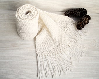Extra Long Hand Knit Chunky White Scarf, Handcrafted Autumn Winter Scarf