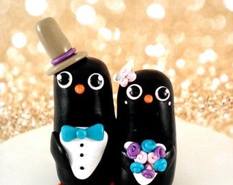 Penguin Wedding Cake Topper Penguin Cake Topper Wedding Cake Black and White Wedding Decoration Penguin Wedding
