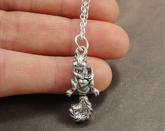 Squirrel Necklace, Silver Squirrel Charm on a Silver Cable Chain