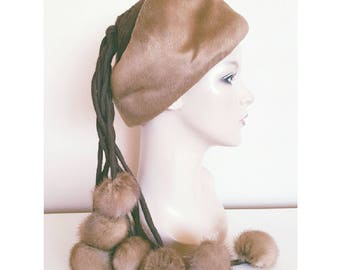 SALE | Vintage 1960s Mr. Individual Brown Winter Hat with Tassels and Mink Fur Pom Poms