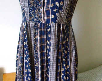 Vintage 90s fabric seersucker dress sleeveless button-TEDDY's. size 36/6