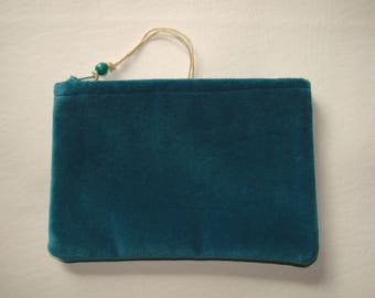 super turquoise velvet zippered pouch handmade by me, Miss Patch