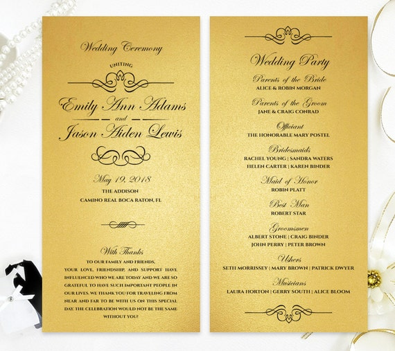 Gold wedding programs Simple ceremony programs printed on
