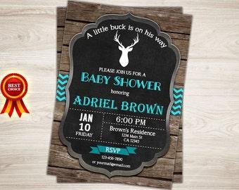 Oh Deer Baby Shower Invitation, Rustic Deer Baby Shower invite,  Boy Little Buck Shower Invitation, Chalkboard Woodland Invite Printable
