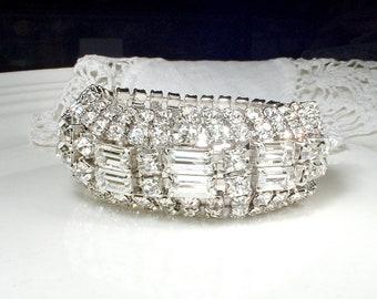 Original 1950s WEISS Art Deco Glam WIDE Bracelet, Rhinestone Flapper Bridal Bracelet, Vintage Old Hollywood Gatsby 1920s Jewelry Statement