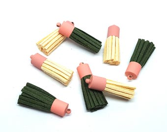 Set matte/tassel jewelry making and /charms jewelry suede tassel / Acorn color leather tassel