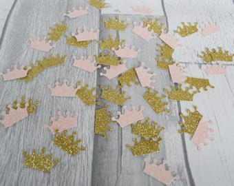 Pale Pink and Gold Crown Confetti, Princess Party Decor, Princess Baby Shower,  Crown Table Scatter, 200 CT,  Handmade 1 - 3 Business Days