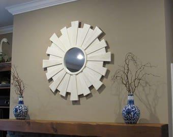 Sunburst mirror- sunburst mirror wall hangings- wood sunburst mirror- white sunburst mirror wall art-