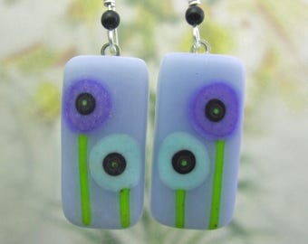 Glacier Blue Glass Bitty Blooms Earrings- Fused Glass Jewelry Handmade in North Carolina