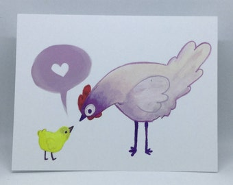 Hen and Chick Greeting Card