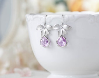 Lavender Earrings Purple Silver Orchid Flower Dangle Earrings Bridesmaid Earrings Lavender Wedding Bridal Earrings Bridal Party Gift for Her