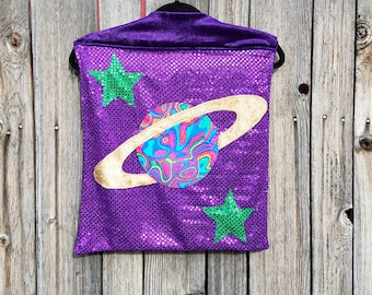 Child Tiny Size Solar System Planet Cape in Purple or Rainbow Sequin with Purple or Blue Faux Velvet Lining