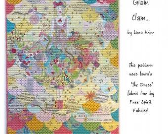 Collage Dress - Dress Applique - Collage Glam Clam Laura Heine - Applique Quilt - DIY Pattern with Fabric Bundle Kit  - Panel Quilt