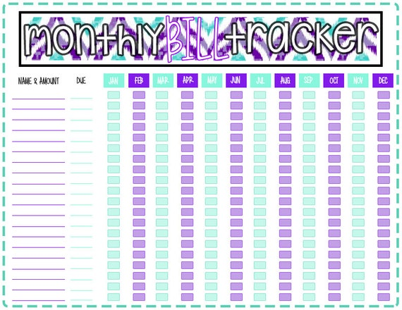 Simplicity image throughout monthly bill tracker printable