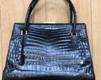 Original 1940's Vintage Black Croc Handbag