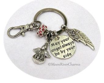 Angel Keychain Guardian Angel Purse Charm Clip On Angel By Your Side Key Ring Custom Angel Gift For Grandma Nana Mom Daughter Sister #K1039