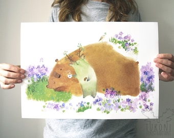 Time to wake up Art print A3 Watercolor Animal Bear print Bear poster Animal poster Bear wall art Childrens Nursery decor nursery wall art