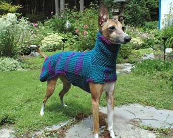Custom Crocheted Small Dog Sweater in Peacock Colors