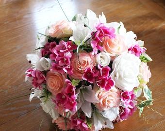 Artificial Silk Wedding Bouquet, Pink, Peach, Ivory, Brides, Bridesmaids