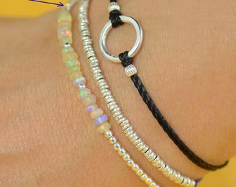 Ethiopian Welo opal  and sterling silver beads  bracelet