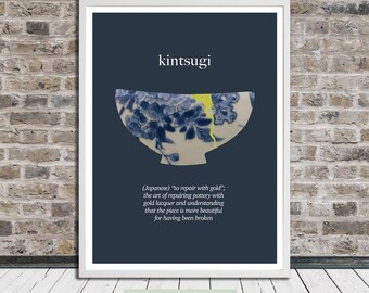 Kintsugi, Kintsukuroi, Japanese, Recovery, Healing, Wall Art, Word Art, Printable Art, Instant Digital Download