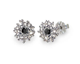 CORAL 14K White Gold Earrings Posts Small, Gold Black Diamond Stud Earrings, Small Black Diamond Earrings, Small Gold Posts