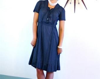 vintage 1940s dress, 40s day dress, sheer cotton dress, navy blue dress, polka dot dress, 40s dress, retro housewife, 1940s pintuck dress