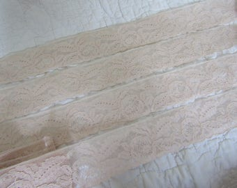 "Vintage Lace 5 1/2 yards x 2 1/4"" wide light peach / pink SALE"