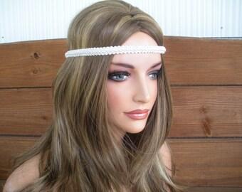 Womens Headband Boho Headband Hippie Headband Fashion Accessories Women Forehead Headband in Off white Braided Trim - Choose color