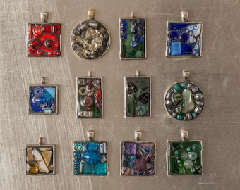 Mixed media mosaics and sometimes a bit more by zorracreativefox multi media mosaic pendants with 18in chain micro mosaic broken plates artisan beads glass tile resin green pink purple blue aloadofball Image collections