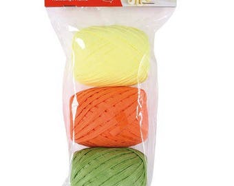 Set of 3 assorted APLI - neon - Ref 14412 - natural raffia until the stock!