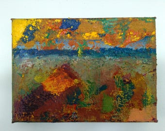 """01668 Small Abstract Oil Painting 7""""x4.75""""x0.75"""""""